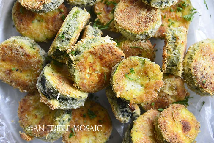 Close Up Overhead View of Keto Crispy Baked Zucchini Slices