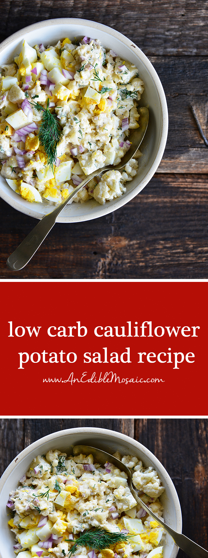 Low Carb Cauliflower Potato Salad Recipe Pin