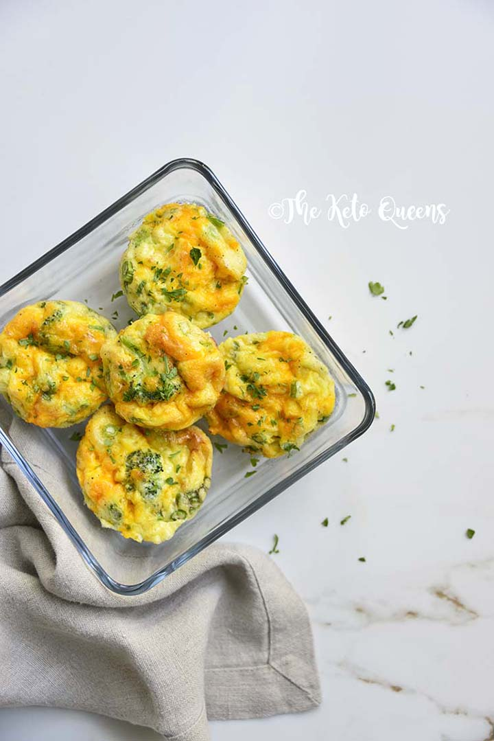 Broccoli Cheddar Egg Muffins in Glass Meal Prep Container