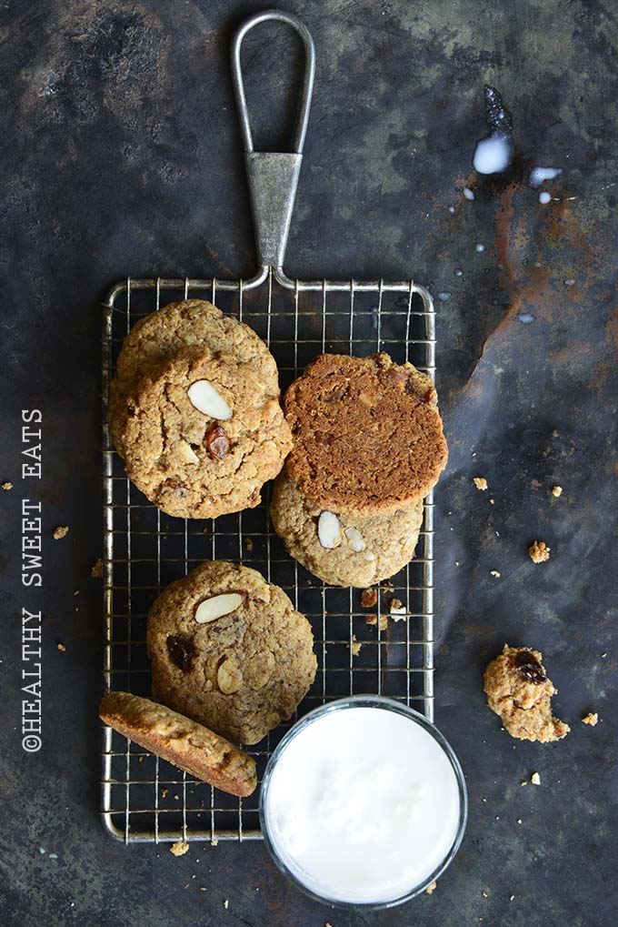 Soft and Chewy Paleo Cinnamon Raisin Noatmeal Cookies on Wire Rack