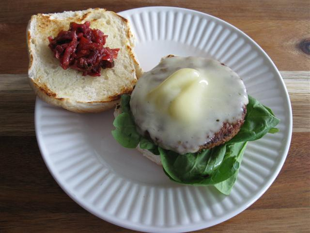 Picadilly Relish on a Gardenburger with Sharp White Cheddar and Baby Spinach