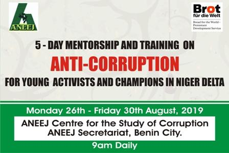 ANEEJ Set to train Young Anti-Corruption Activists and Championships August 26-30.