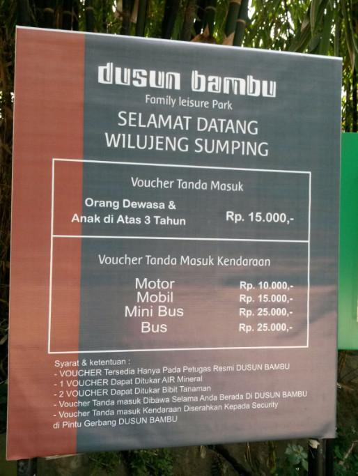 Tiket masuk Dusun Bambu Lembang