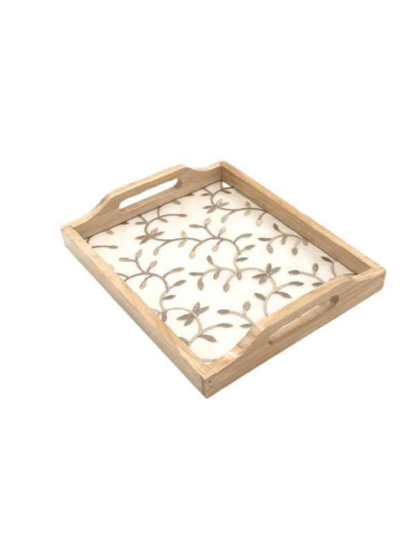 Beige Embroidered Wooden Tray