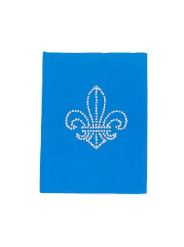 French flower - Handmade Blue Leather Diary With Crystals