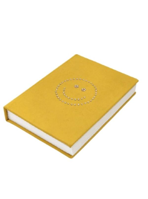 Sparkly Smiley - Handmade Yellow Leather Diary With Crystals