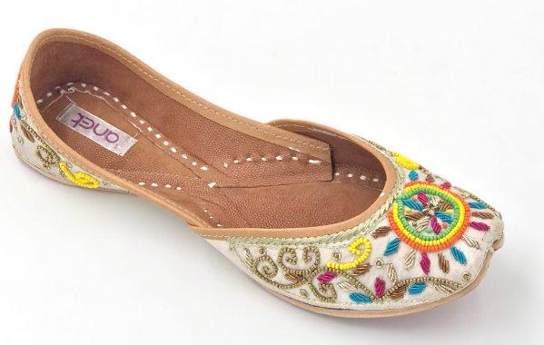 Beige Bead Embellished Punjabi Leather Jutti
