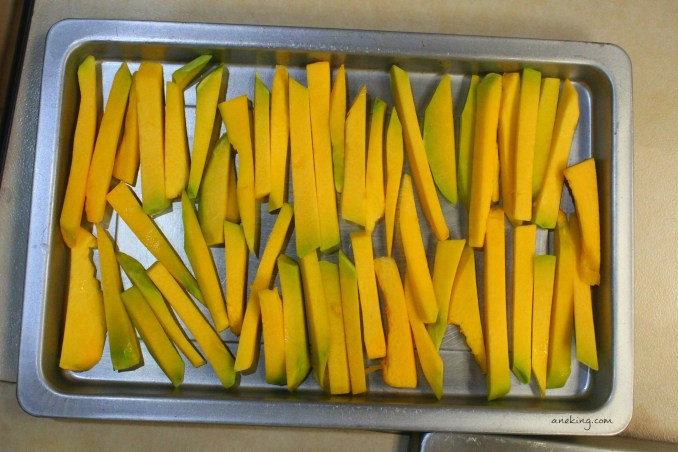 8. Place the strips in a tray.