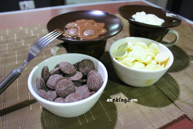 8. Double boil the milk chocolate and white chocolate separately.