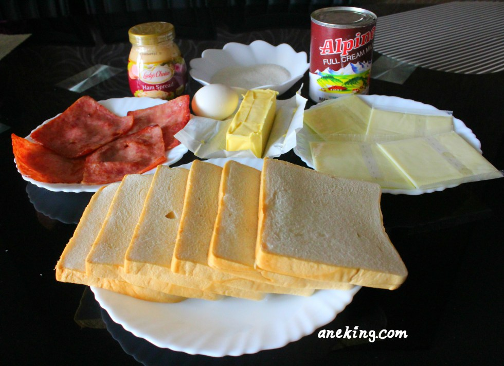 1. Prepare all the ingredients needed. This includes sandwich bread, ham, cheese, egg, milk, butter, sugar and Lady's Choice Ham Spread.
