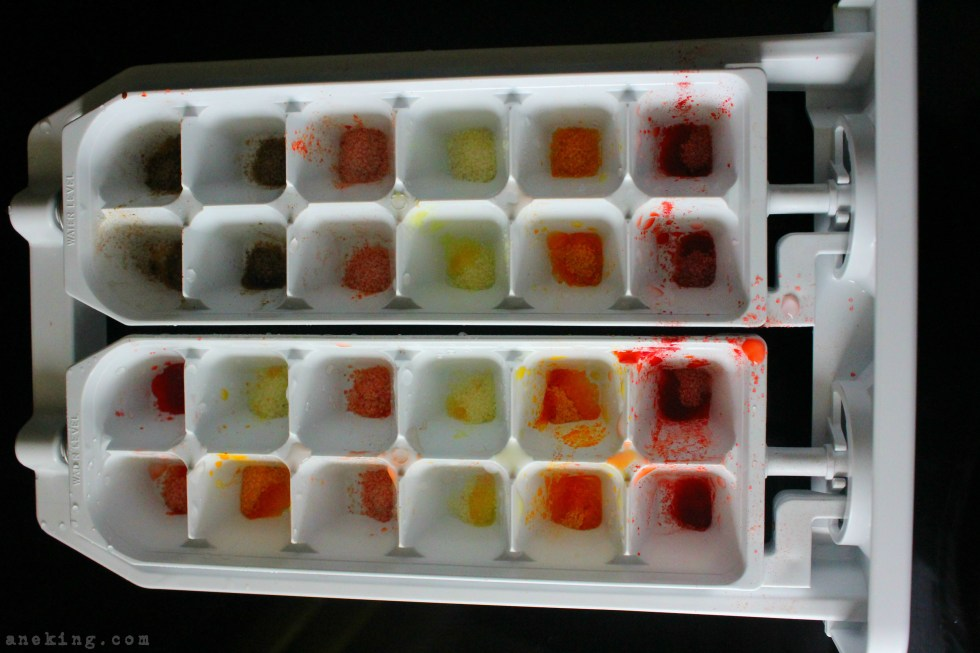 2-get-your-ice-mold-and-in-each-of-its-boxes-put-a-quarter-teaspoon-of-different-flavors-of-powdered-juice