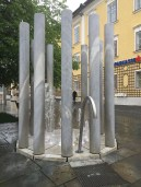 An interesting modern fountain in Mondsee, Austria