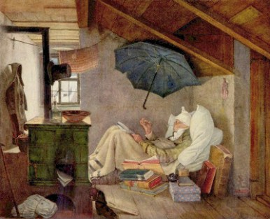 """Painting, """"The Poor Poet"""" by Carl Spitzweg"""