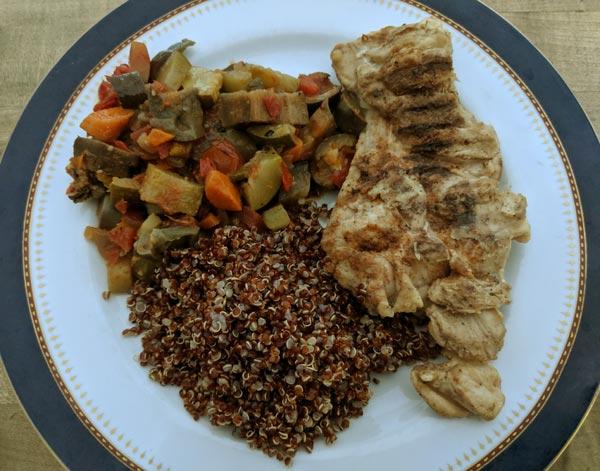 Caponata, Quinoa, grilled chicken