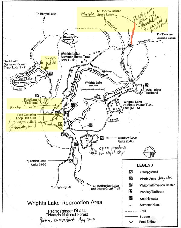 Map Wright's Lake Camping Facilities