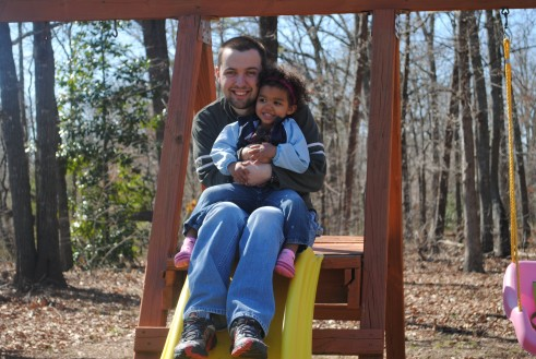 Daddy and Abby sliding