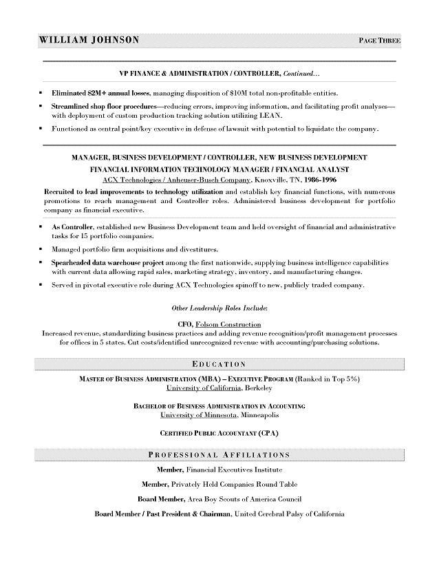 cfo sample resume executive resume writer for technology operations