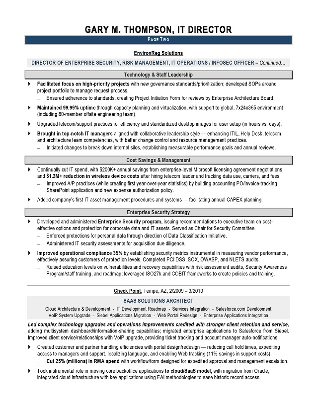 senior software engineer sample resume it and executive resume