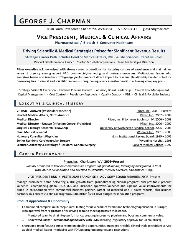 vp medical affairs sample resume executive resume writer for r amp d