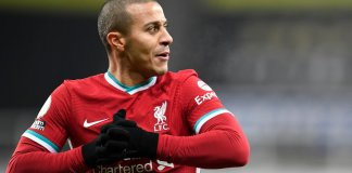 Thiago Alcantara of Liverpool reacts during the Premier League match between Newcastle United and Liverpool at St. James' Park on December 30