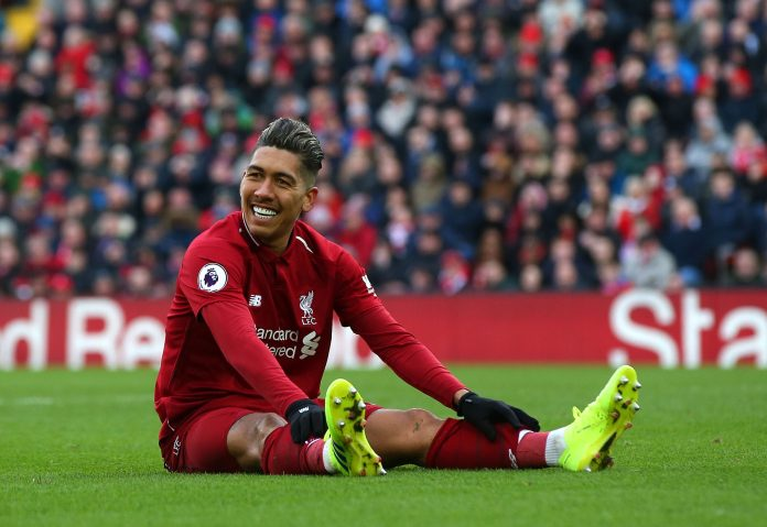 LIVERPOOL, ENGLAND - MARCH 10: Roberto Firmino of Liverpool FC reacts during the Premier League match between Liverpool FC and Burnley FC at Anfield on March 10, 2019 in Liverpool, United Kingdom.