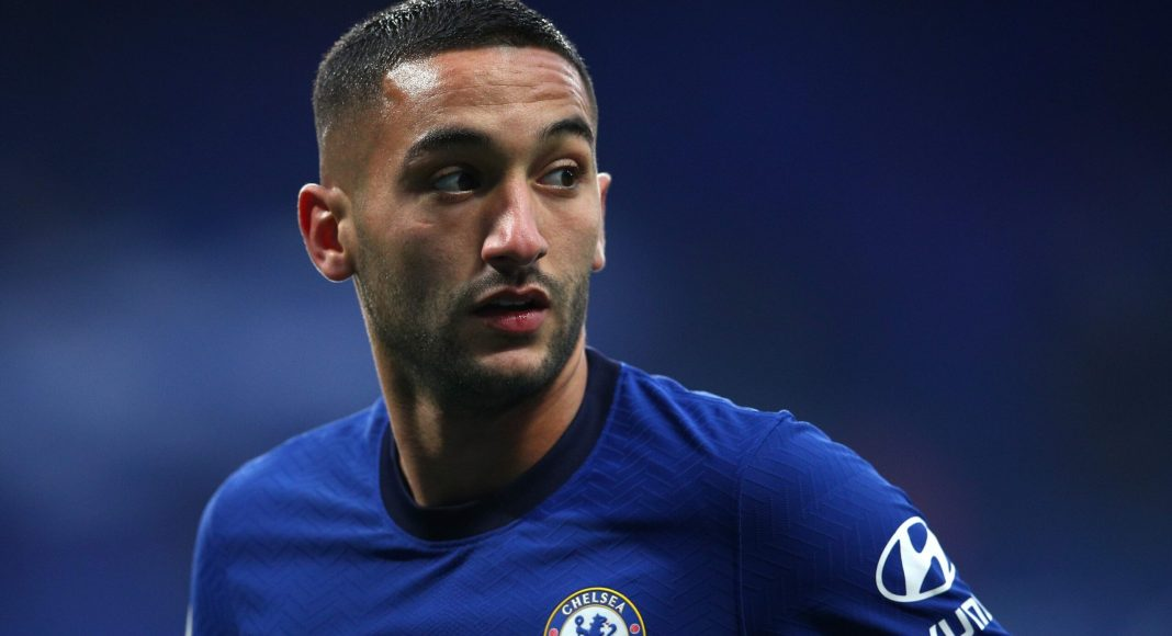 LONDON, ENGLAND - OCTOBER 17: Hakim Ziyech of Chelsea looks on during the Premier League match between Chelsea and Southampton at Stamford Bridge on October 17, 2020 in London, England.