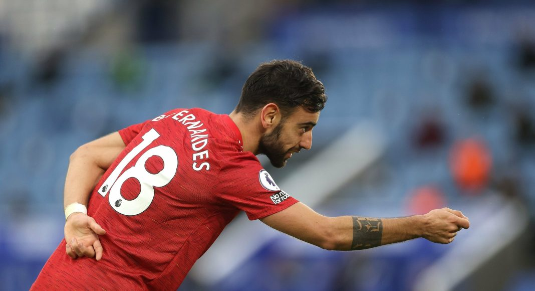 LEICESTER, ENGLAND - DECEMBER 26: Bruno Fernandes of Manchester United celebrates after scoring their sides second goal during the Premier League match between Leicester City and Manchester United at The King Power Stadium on December 26, 2020 in Leicester, England.