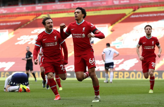 Trent Alexander-Arnold of Liverpool celebrates with teammate Xherdan Shaqiri after scoring their team's second goal during the Premier League match between Liverpool and Aston Villa at Anfield on April 10, 2021 in Liverpool, England.