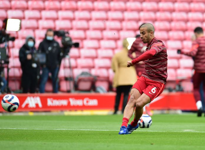 LIVERPOOL, ENGLAND - MAY 23: ( THE SUN OUT,THE SUN ON SUNDAY OUT) Thiago Alcantara of Liverpool before the Premier League match between Liverpool and Crystal Palace at Anfield on May 23, 2021 in Liverpool, England.