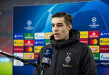 BUDAPEST, HUNGARY - FEBRUARY 24: Florian Neuhaus of Borussia Moenchengladbach talks to the media after the UEFA Champions League Round Of 16 Leg One match between Borussia Moenchengladbach and Manchester City at Puskas Arena on February 24, 2021 in Budapest, Hungary.