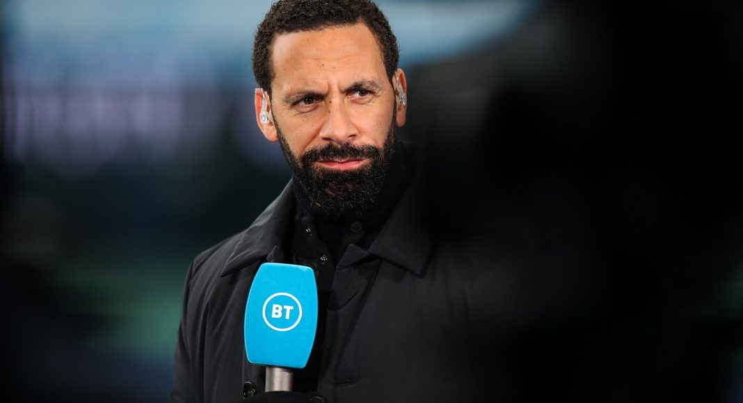 MANCHESTER, ENGLAND - APRIL 10: Rio Ferdinand reporting for BT Sport ahead of the Premier League match between Manchester City and Leeds United at Etihad Stadium on April 10, 2021 in Manchester, United Kingdom.