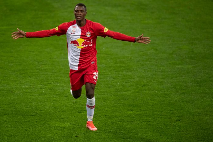 SALZBURG, AUSTRIA - MAY 12: Patson Daka of Red Bull Salzburg celebrates after scoring on a goal during the tipico Bundesliga match between RB Salzburg and Rapid Wien at Red Bull Arena on May 12, 2021 in Salzburg, Austria.