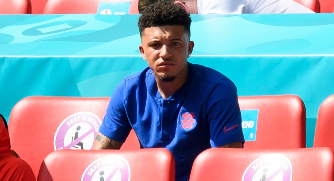LONDON, ENGLAND - JUNE 13: (BILD ZEITUNG OUT) Jadon Sancho of England looks on during the UEFA Euro 2020 Championship Group D match between England and Croatia at Wembley Stadium on June 13, 2021 in London, United Kingdom.