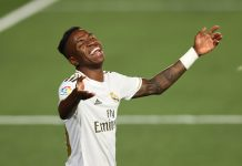 MADRID, SPAIN - JULY 02: Vinicius Junior of Real Madrid reacts during the Liga match between Real Madrid CF and Getafe CF at Estadio Alfredo Di Stefano on July 02, 2020 in Madrid, Spain.