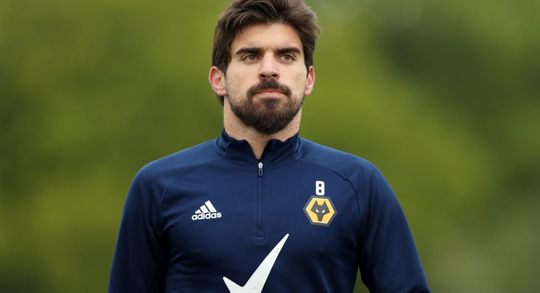 WOLVERHAMPTON, ENGLAND - MAY 14: Ruben Neves of Wolverhampton Wanderers looks on during a Wolverhampton Wanderers Training Session at Sir Jack Hayward Training Ground on May 14, 2021 in Wolverhampton, England.