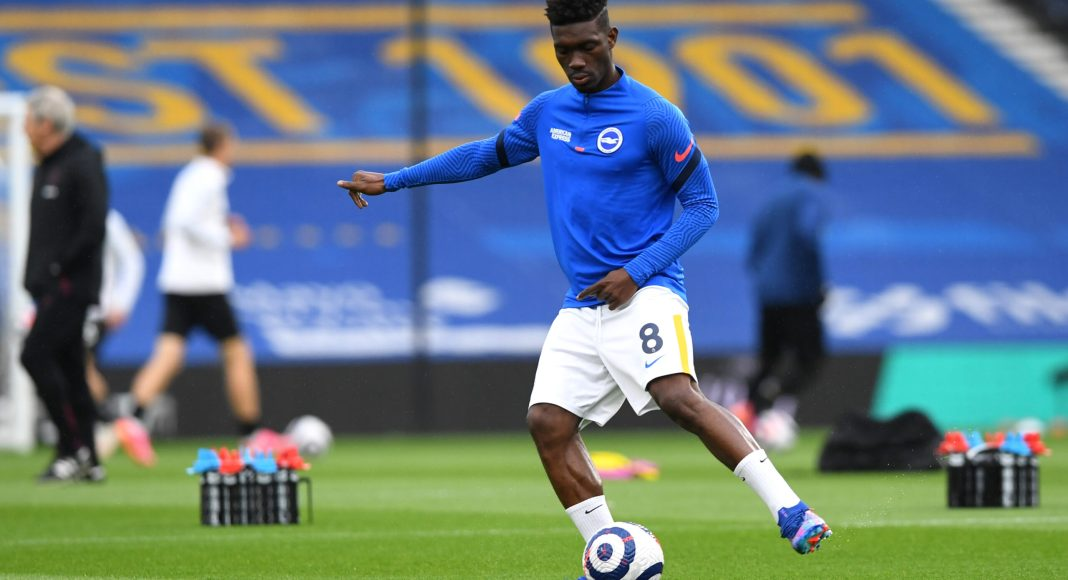 BRIGHTON, ENGLAND - MAY 15: Yves Bissouma of Brighton & Hove Albion warms up prior to the Premier League match between Brighton & Hove Albion and West Ham United at American Express Community Stadium on May 15, 2021 in Brighton, England.