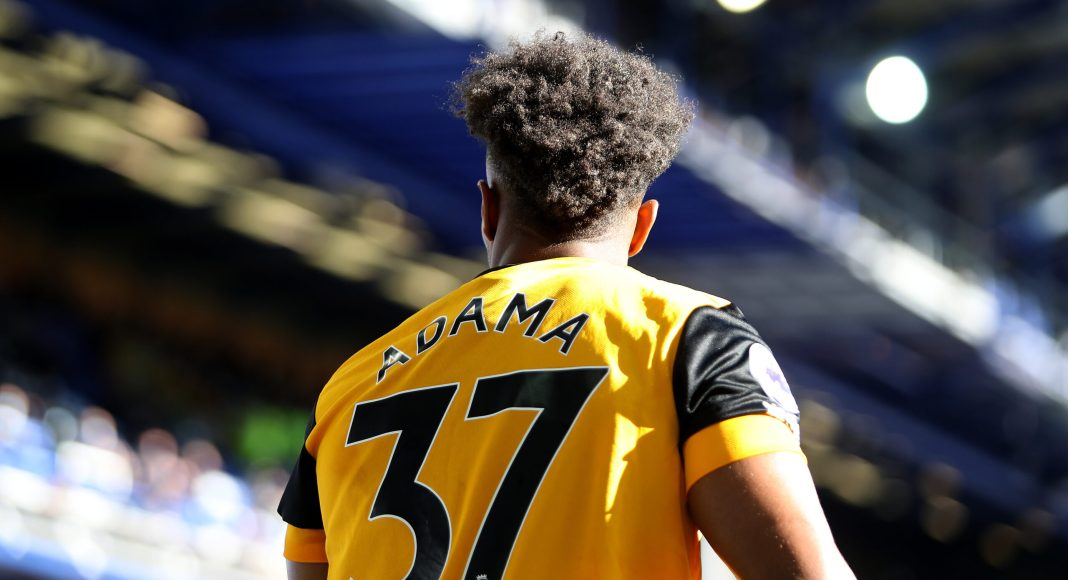LIVERPOOL, ENGLAND - MAY 19: Adama Traore of Wolverhampton Wanderers looks on during the Premier League match between Everton and Wolverhampton Wanderers at Goodison Park on May 19, 2021 in Liverpool, England. A limited number of fans will be allowed into Premier League stadiums as coronavirus restrictions begin to ease in the UK. (Photo by Jack Thomas - WWFC/Wolves via Getty Images)