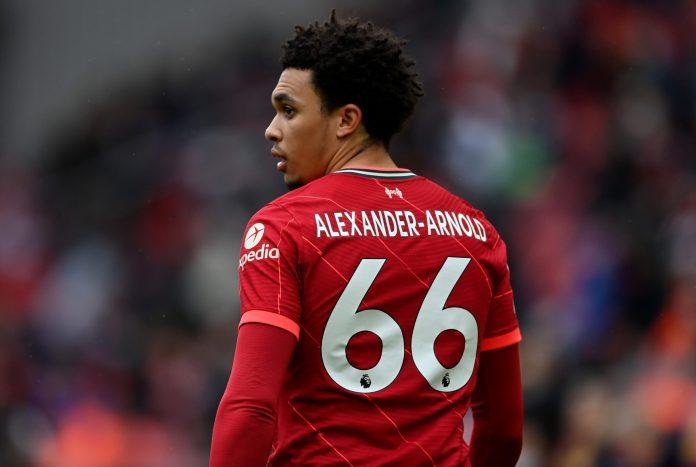 LIVERPOOL, ENGLAND - MAY 23: Trent Alexander-Arnold of Liverpool during the Premier League match between Liverpool and Crystal Palace at Anfield on May 23, 2021 in Liverpool, England.