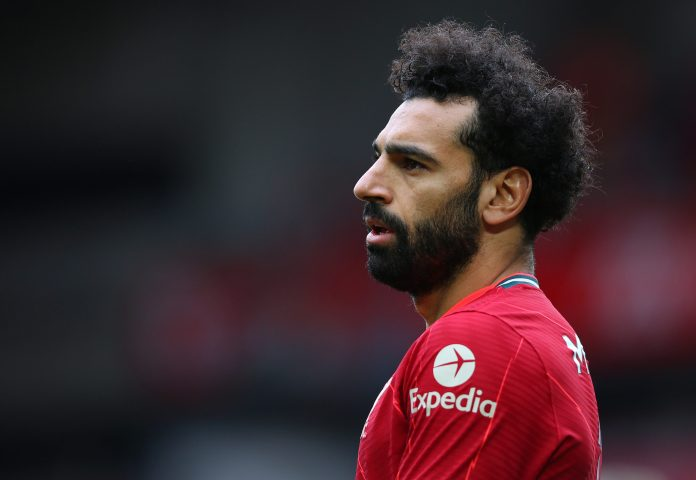 LIVERPOOL, ENGLAND - MAY 23: Mohamed Salah of Liverpool looks on during the Premier League match between Liverpool and Crystal Palace at Anfield on May 23, 2021 in Liverpool, England.