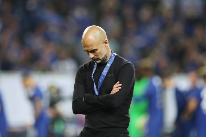 PORTO, PORTUGAL - MAY 29: Pep Guardiola, Manager of Manchester City looks dejected after the UEFA Champions League Final between Manchester City and Chelsea FC at Estadio do Dragao on May 29, 2021 in Porto, Portugal.