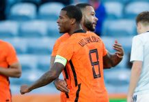 ALMANCIL, PORTUGAL - JUNE 2: Memphis Depay of Netherlands celebrates after scoring his sides first goal with Georginio Wijnaldum of Netherlands during the International Friendly match between Netherlands and Scotland at Algarve Stadium on June 2, 2021 in Almancil, Portugal.