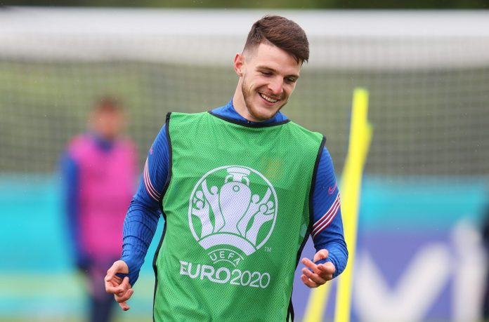 ENFIELD, ENGLAND - JUNE 21: Declan Rice of England reacts during the England Training Session at Tottenham Hotspur Training Centre on June 21, 2021 in Enfield, England.