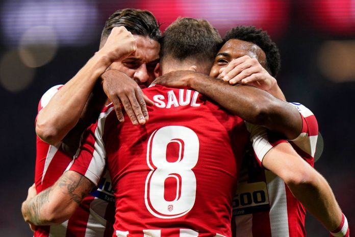 MADRID, SPAIN - OCTOBER 26: Saul Niguez of Club Atletico de Madrid celebrates after scoring his team's first goal battle for the ball with Athletic Club during the Liga match between Club Atletico de Madrid and Athletic Club at Wanda Metropolitano on October 26, 2019 in Madrid, Spain. (Photo by Quality Sport Images/Getty Images)