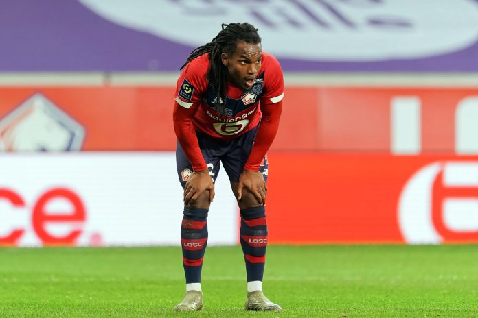 LILLE, FRANCE - MARCH 21: Renato Sanches of Lille OSC during the Ligue 1 match between Lille OSC and Nimes Olympique at Stade Pierre Mauroy on March 21, 2021 in Lille, France.