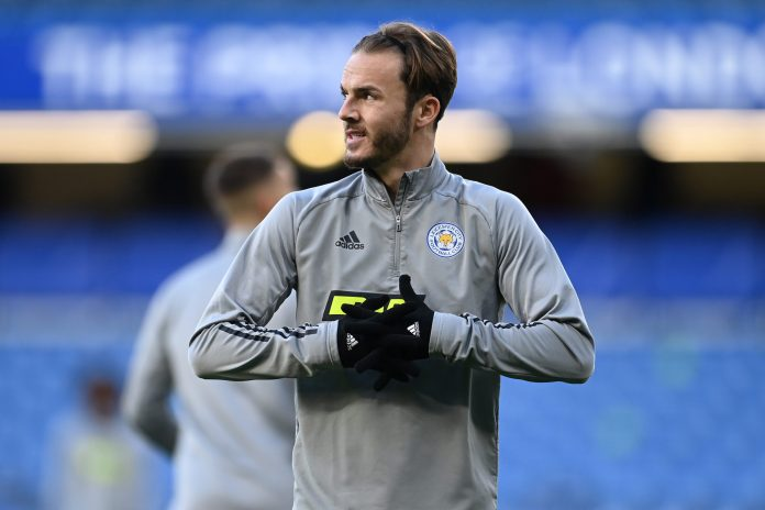LONDON, ENGLAND - MAY 18: James Maddison of Leicester City warms up prior to the Premier League match between Chelsea and Leicester City at Stamford Bridge on May 18, 2021 in London, England.