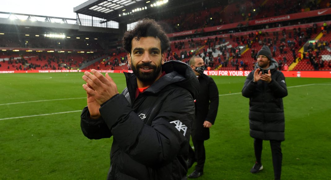 LIVERPOOL, ENGLAND - MAY 23: (THE SUN OUT, THE SUN ON SUNDAY OUT) Mohamed Salah of Liverpool showing his appreciation to the fans at the end of the Premier League match between Liverpool and Crystal Palace at Anfield on May 23, 2021 in Liverpool, England.
