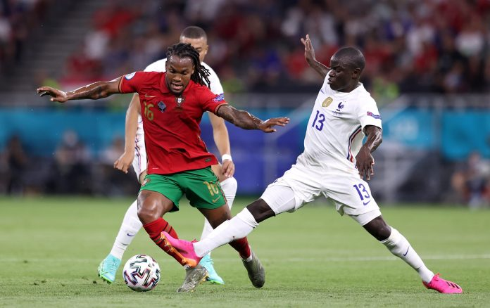 BUDAPEST, HUNGARY - JUNE 23: Renato Sanches of Portugal is challenged by N'Golo Kante of France during the UEFA Euro 2020 Championship Group F match between Portugal and France at Puskas Arena on June 23, 2021 in Budapest, Hungary.