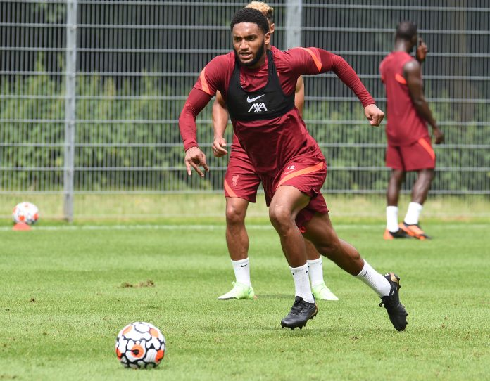 UNSPECIFIED, AUSTRIA - JULY 13: Joe Gomez of Liverpool during a training session on July 13, 2021 in UNSPECIFIED, Austria. (Photo by John Powell/Liverpool FC via Getty Images)