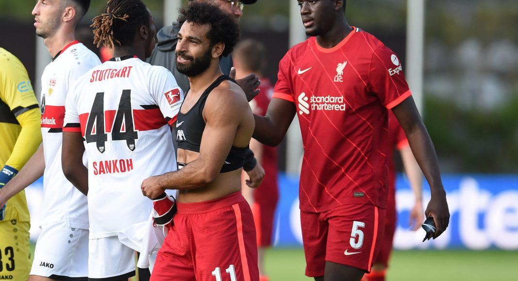 SAALFELDEN, AUSTRIA - JULY 20: (THE SUN OUT, THE SUN ON SUNDAY OUT) Liverpool's Mohamed Salah and Ibrahima Konate during a Pre Season friendly between FC Liverpool and VfB Stuttgart on July 20, 2021 in Saalfelden, Austria. (Photo by John Powell/Liverpool FC via Getty Images) (Photo by John Powell/Liverpool FC via Getty Images)