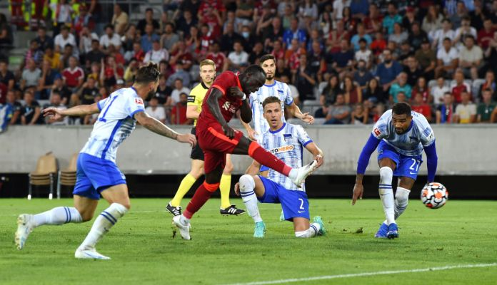 INNSBRUCK, AUSTRIA - JULY 29: (THE SUN OUT, THE SUN ON SUNDAY OUT) Sadio Mane of Liverpool scores the opening goal for Liverpool during the Pre Season match between Hertha BSC and Liverpool at Tivoli Stadion Tirol on July 29, 2021 in Innsbruck, Austria. (Photo by John Powell/Liverpool FC via Getty Images)
